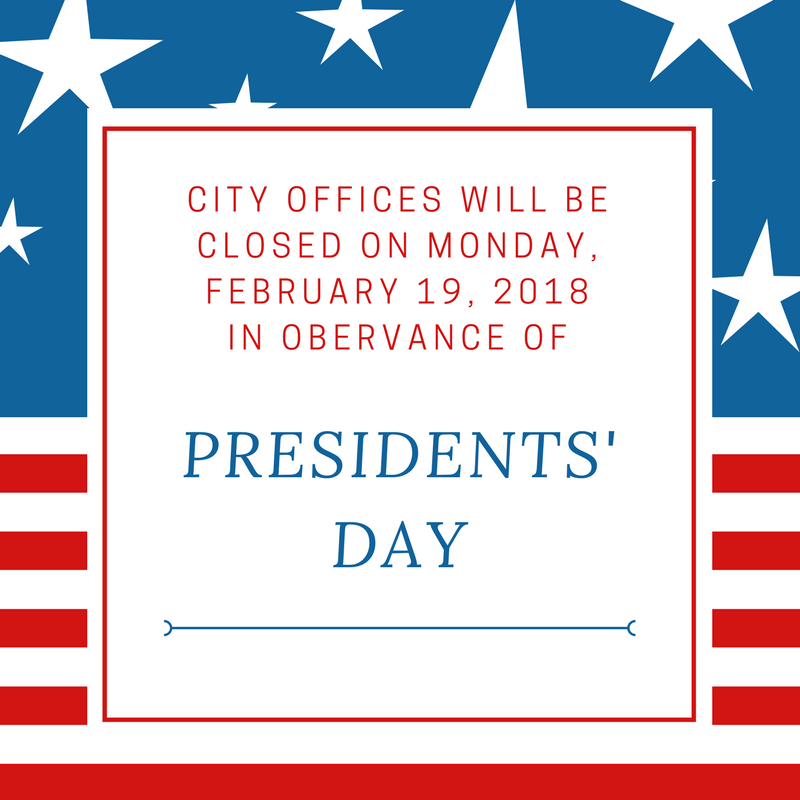 Presidents' Day is on February 19, 2018.